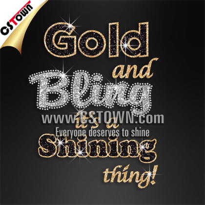 Custom Rhinestone Glitter Heat Transfer T Shirt Gold And
