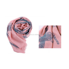 Polyester Pashmina Long Scarf Colorful Flower Grid Pattern Cotton Scarf