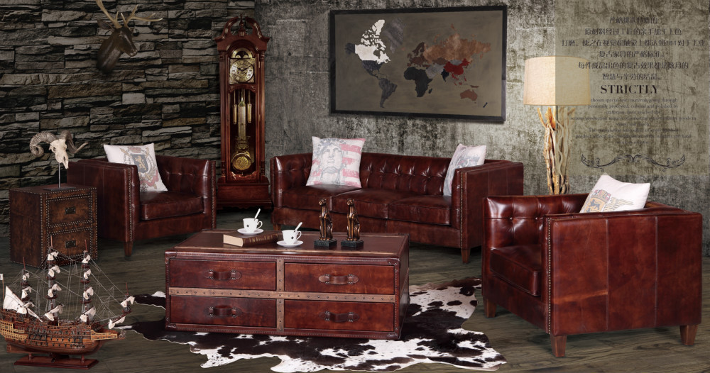 Retro Traditional English Chesterfield Sofa Chair In Antiqued Leather View Chesterfield Sofa
