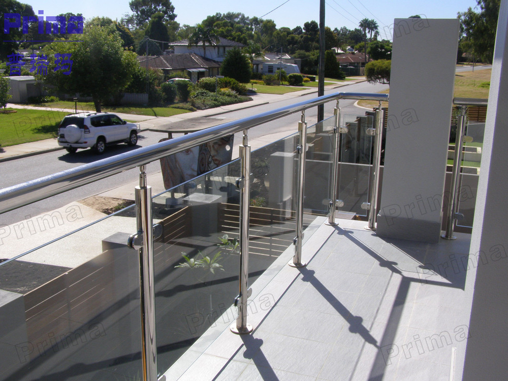 See-through stainless steel exterior glass railing, View ...