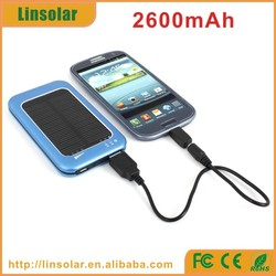 Portable small size 2600mah solar charger with 3.7v lithium polymer battery