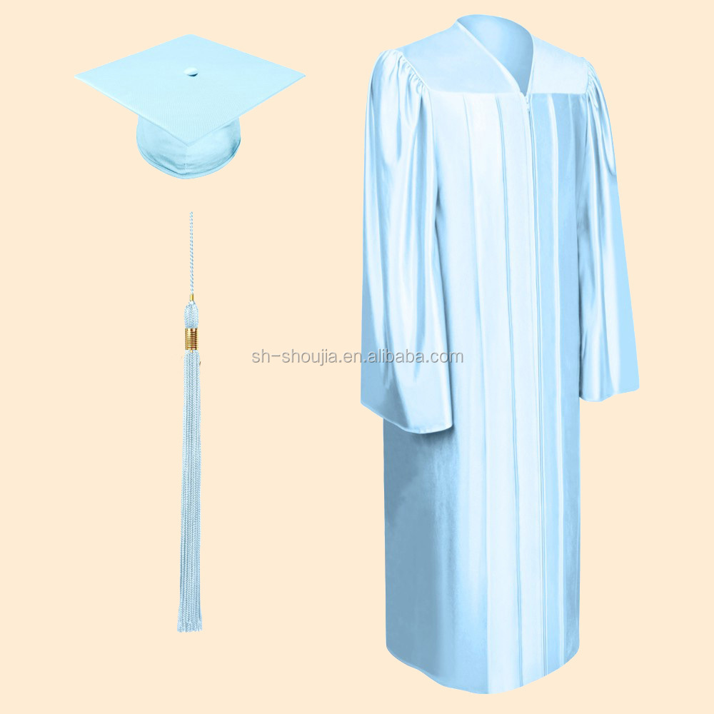 Shiny Light Blue Bachelor Graduation Cap,Gown & Tassel - Buy ...