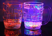 plastic LED flash beer cup with handle