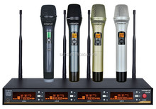 UHF 4 Channel 200 Selectable Frequency Handhels Wireless Microphone System