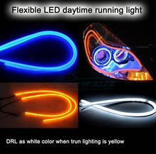 universal 2x60cm White+Amber DRL LED Flexible Headlight Head lamp Switchback Strip Tube