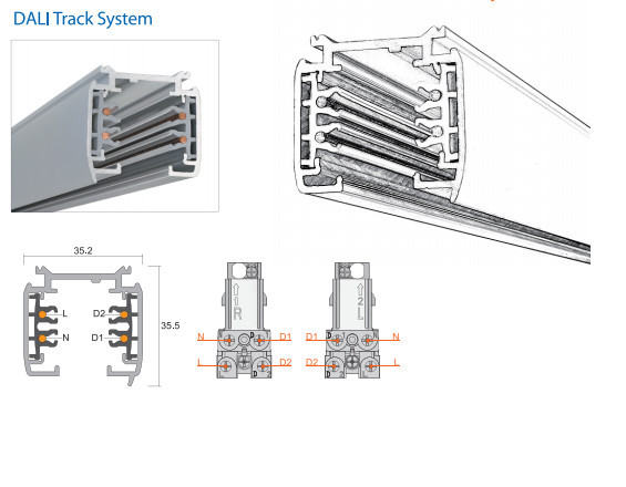 Single Phase Led : Led commercial lighting track rail accessory single phase