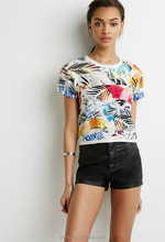 tropical style stripe T-shirt with short sleeves