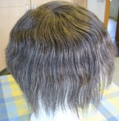 Custom-made Black Mixed Gray Hair Fine Mono Men Toupee for Old Men