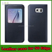 Window Leather For Samsung S6 Case, Ultra Slim Cover Leather Case For Samsung S6, flip cover PU leather
