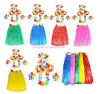 Hawaiian Grass Skirt Flower Hula Lei Garland Fancy Dress Costume 6 Piece Set