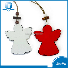 red/white wood like paper mache/paper pulp hanging angel for christmas tree decoration