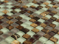 The beautiful design Emperador light and dark marble tile with float glass mosaic
