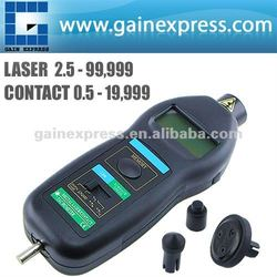 2in1 Digital Laser Non-Contact & Contact Tachometer ft & m/min, Auto Ranging