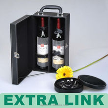 Extra Link made Custom logo new product Wood made leather cover wine carrier