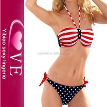 fábrica de moda de la bandera de dos piezas traje de baño triangl directa bikinis lindos de la China