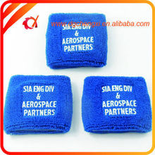 Blue Cotton Terry Cloth Embroidery Sweatbands basketball and party wristband for Tennis/Yoga/Exercise