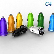 Multi-colored C6 car charger usb hub for mobile phones