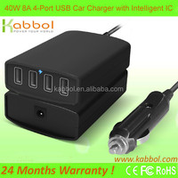 40W 4-Port USB Car Charger ,Portable Fast External Battery Pack Charger Compatible to i6, i6 pluS 5S 5 5C