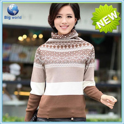 HOT High Neck wool sweaters Long Sleeve Sweater Jumper custom knit jumper pullover sweater design for ladies