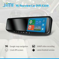 Newest Car rearview mirror android, camera recorder computer monitor rear view mirror dvr with hd dual lens g-sensor gps jc600