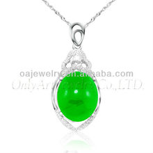 pinch bails jade 925 sterling silver pendant