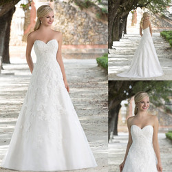 2016 Classic A-line Sweetheart Sleeveless Floor-length Organza Lace Wedding Dresses , Lace Bridal Gown #W061