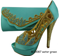 High quality design MS3087 water green shoes and bag set for party for wedding