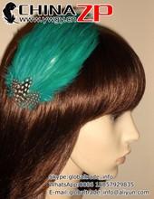 Handmade Bridesmaids Hair Accessory wholesale Jade Green Feather Fascinator hair clip