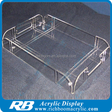 customized design clear acrylic tray with dividers with handle position