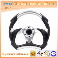Car Steering Wheels 330mm/ 13 Inch Sliver Poke, Sliver PU Circle Racing Steering Wheel