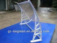 Fashion plastic door canopy awning with white bracket and clear board