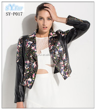 fashion women's printted genuine leather jacket and Motorcycle sheepskin Leather Slim short lambskin jacket coat for girls