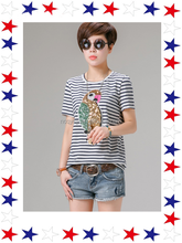 2015 Newest Design 100% Cotton Women T Shirt With Fancy Pattern For Sale