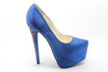 Blue Lady Sexy Shoes High Heel wish shinny studs YJ1505124