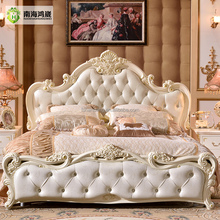 Antique Luxury Rococo European Baroque Bed French Provincial Wedding Hand Carved Wooden MDF Bedroom Set Romantic Home Furniture