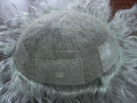 100% real hair with white human hair system, Swiss lace with skin scallop front men's wig , 80%grey human hair toupee