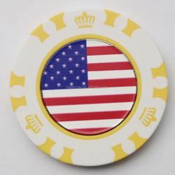 Custom plastic poker chips with custom flag golf ball marker