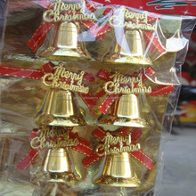 2015 popular gold Christmas bell with merry christmas words decoration