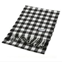 2015 big checks cashmere winter men scarf with Tassels