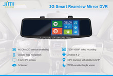 JIMI 3g andriod wifi 720P 5 inch touch screen rearview camera mirror built-iin gps map navigation