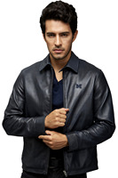 Embroidery Winter Leather Jacket Italy Sheep Skin Men Modern Jacket
