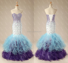 Sweetheart Crystal Beaded Organza Ruffle Mermaid Evening Dresses China ME012