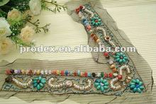 Colorful beads neckline,embroidery collar