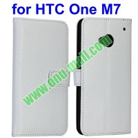 With Slots Pure Color Lichee Texture Magnetic Flip Stand Leather Cover for htc one m7 cover