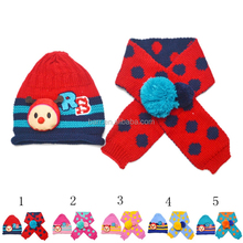 Many colours bee shape dot pattern wollen warm child crochet hat and scarf