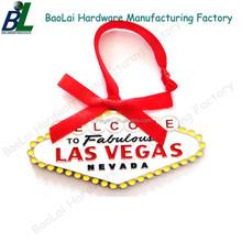 Fashion LAS VEGAS ribbon hanged metal ornaments