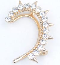 New arrival amazing cuff earrings ear wrap clip/crystal gold earrings
