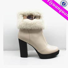 High Heel White Snow Boots with Furry for Women
