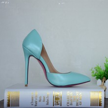 designer brand open size blue color cute pink sole fashion shoes 12cm thin heels shoes factory customized shoes
