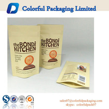 2015 stand up pouch aluminum foil material with ziplock and custom logo for 42g fruit & seed balls packaging